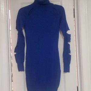 Blue turtle neck sweater dress M